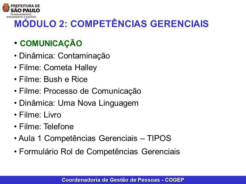 Coordenadoria de Gestão de Pessoas - COGEP MÓDULO 2: COMPETÊNCIAS GERENCIAIS COMUNICAÇÃO Dinâmica: Contaminação Filme: Cometa Halley Filme: Bush e Ric