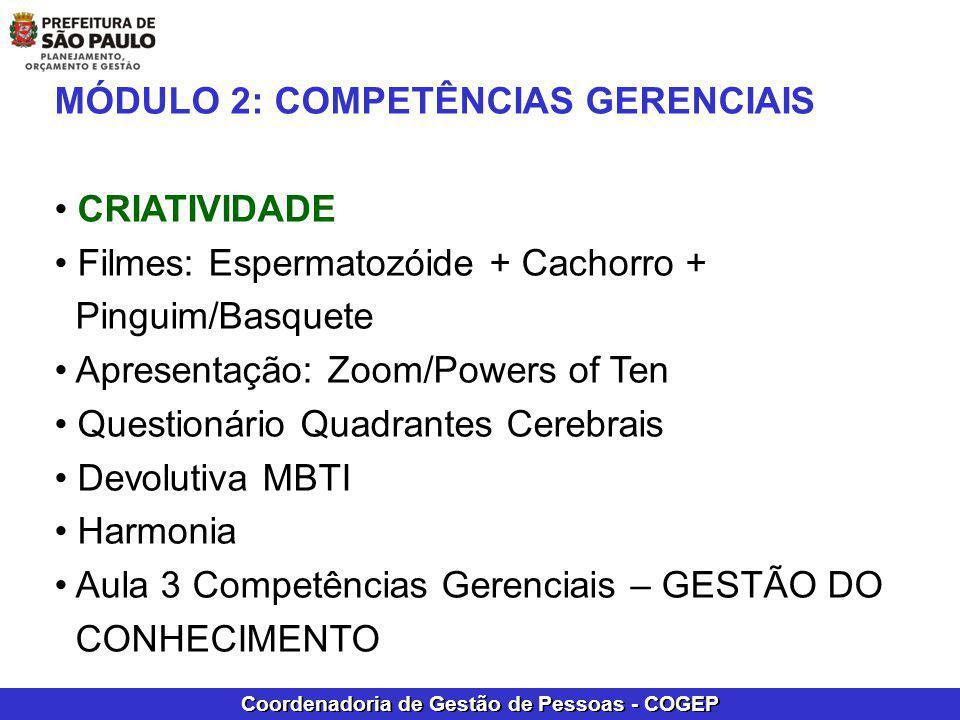 Coordenadoria de Gestão de Pessoas - COGEP MÓDULO 2: COMPETÊNCIAS GERENCIAIS CRIATIVIDADE Filmes: Espermatozóide + Cachorro + Pinguim/Basquete Apresen