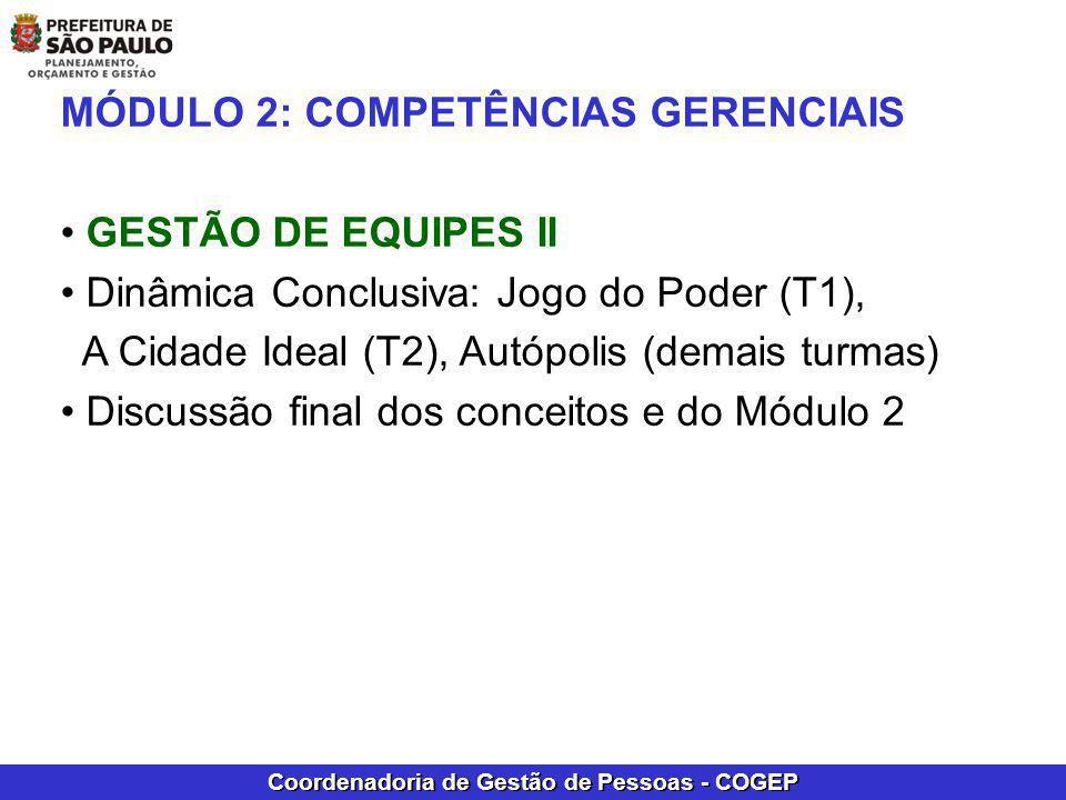Coordenadoria de Gestão de Pessoas - COGEP MÓDULO 2: COMPETÊNCIAS GERENCIAIS GESTÃO DE EQUIPES II Dinâmica Conclusiva: Jogo do Poder (T1), A Cidade Id