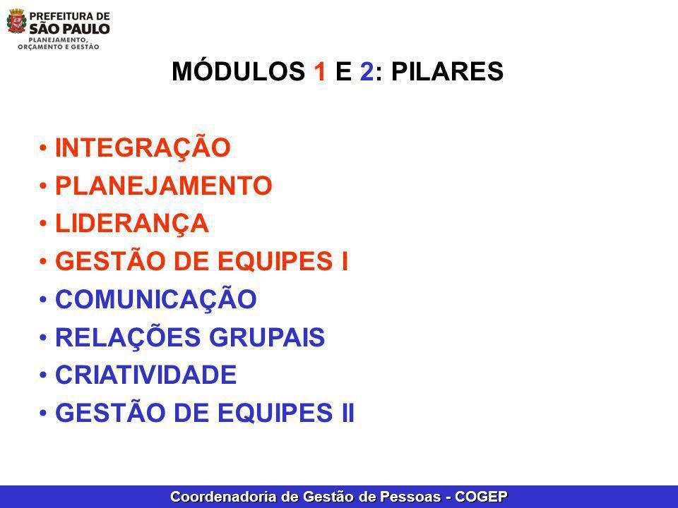 Coordenadoria de Gestão de Pessoas - COGEP MÓDULOS 1 E 2: PILARES INTEGRAÇÃO PLANEJAMENTO LIDERANÇA GESTÃO DE EQUIPES I COMUNICAÇÃO RELAÇÕES GRUPAIS C