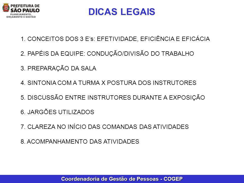 Coordenadoria de Gestão de Pessoas - COGEP 1. CONCEITOS DOS 3 Es: EFETIVIDADE, EFICIÊNCIA E EFICÁCIA 2. PAPÉIS DA EQUIPE: CONDUÇÃO/DIVISÃO DO TRABALHO