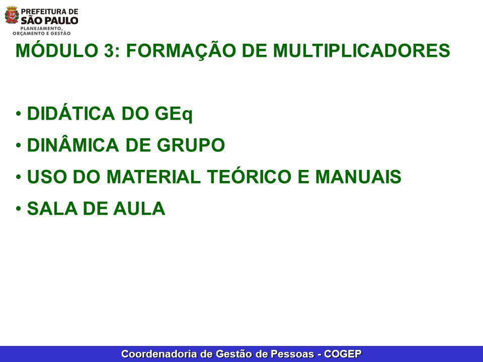 Coordenadoria de Gestão de Pessoas - COGEP MÓDULO 3: FORMAÇÃO DE MULTIPLICADORES DIDÁTICA DO GEq DINÂMICA DE GRUPO USO DO MATERIAL TEÓRICO E MANUAIS S