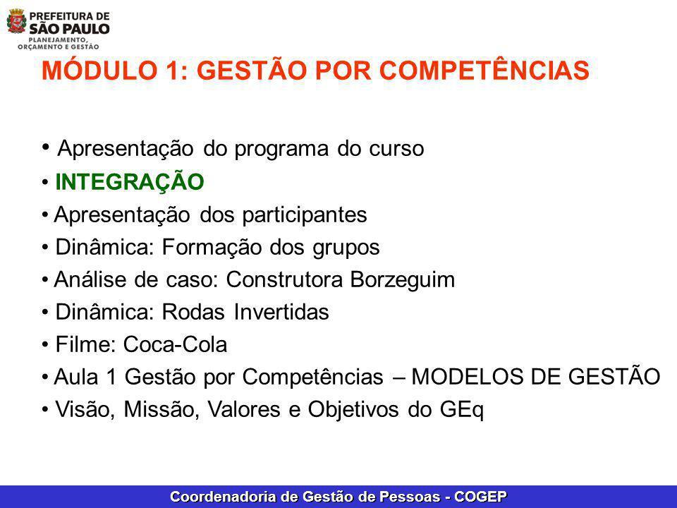 Coordenadoria de Gestão de Pessoas - COGEP MÓDULO 1: GESTÃO POR COMPETÊNCIAS Apresentação do programa do curso INTEGRAÇÃO Apresentação dos participant