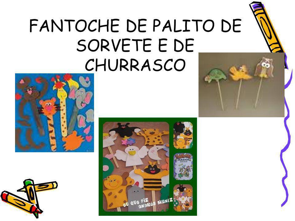 FANTOCHE DE PALITO DE SORVETE E DE CHURRASCO