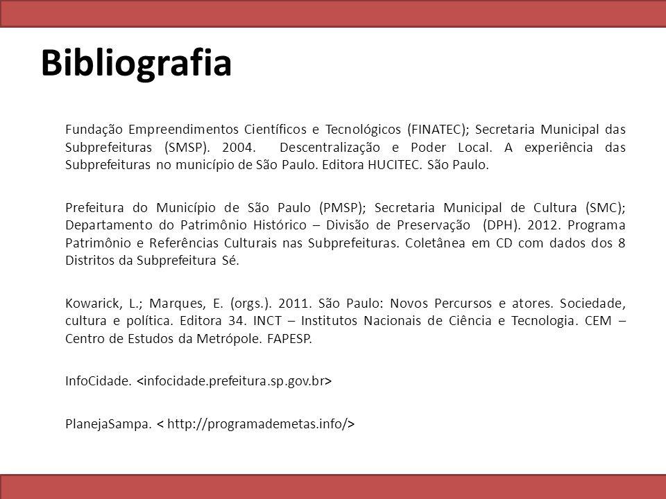 Bibliografia Fundação Empreendimentos Científicos e Tecnológicos (FINATEC); Secretaria Municipal das Subprefeituras (SMSP). 2004. Descentralização e P