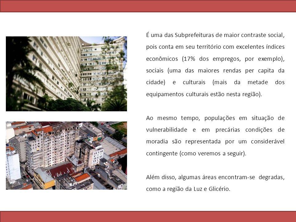 É uma das Subprefeituras de maior contraste social, pois conta em seu território com excelentes índices econômicos (17% dos empregos, por exemplo), sociais (uma das maiores rendas per capita da cidade) e culturais (mais da metade dos equipamentos culturais estão nesta região).