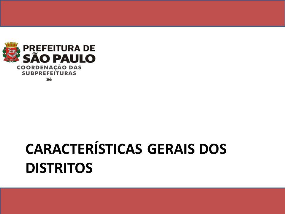 CARACTERÍSTICAS GERAIS DOS DISTRITOS