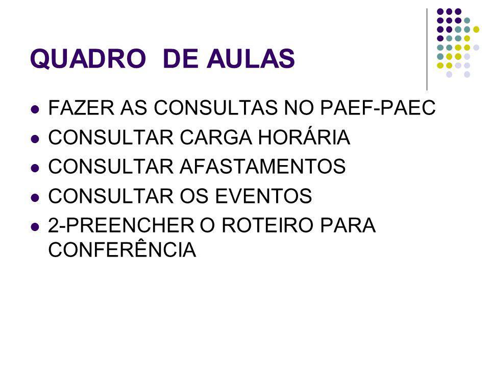 QUADRO DE AULAS FAZER AS CONSULTAS NO PAEF-PAEC CONSULTAR CARGA HORÁRIA CONSULTAR AFASTAMENTOS CONSULTAR OS EVENTOS 2-PREENCHER O ROTEIRO PARA CONFERÊNCIA