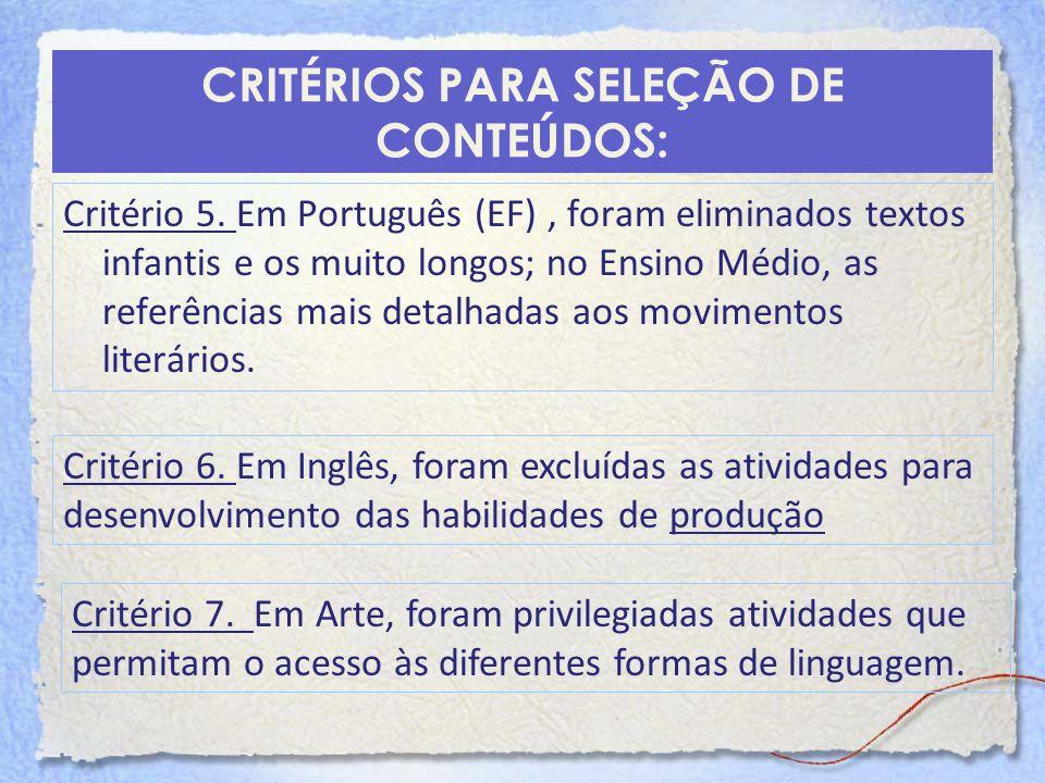 CRITÉRIOS PARA SELEÇÃO DE CONTEÚDOS: Critério 5. Em Português (EF), foram eliminados textos infantis e os muito longos; no Ensino Médio, as referência
