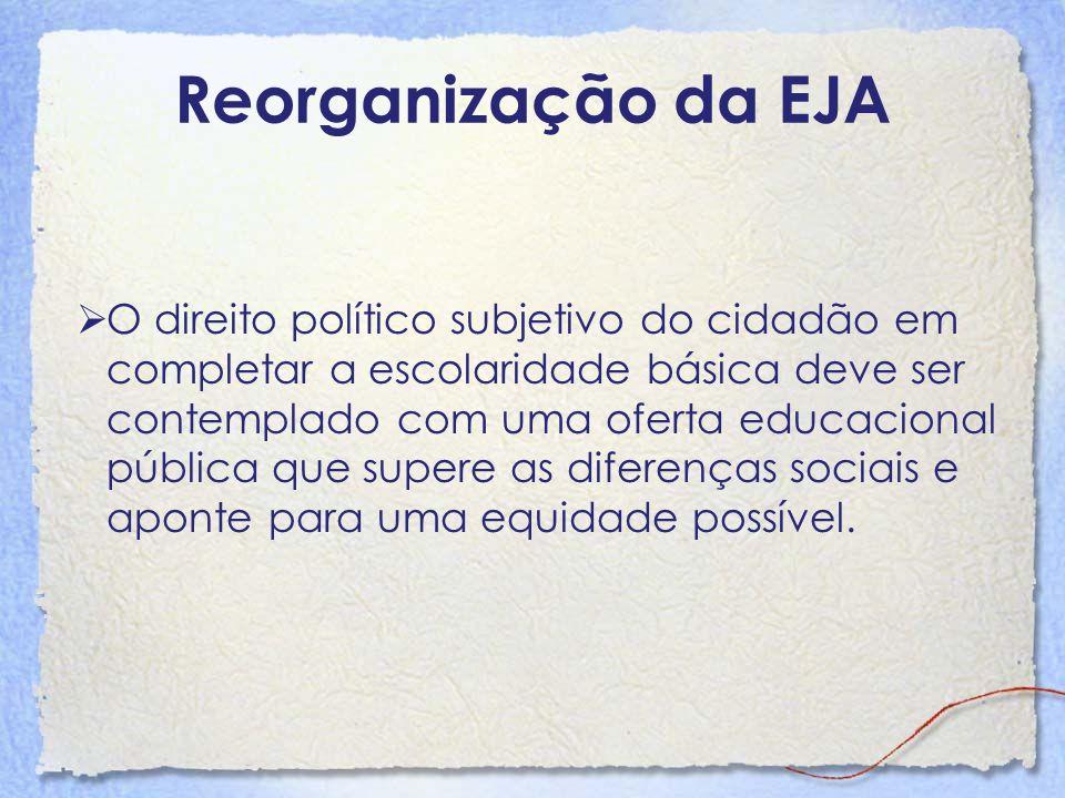 Reorganização da EJA O direito político subjetivo do cidadão em completar a escolaridade básica deve ser contemplado com uma oferta educacional públic