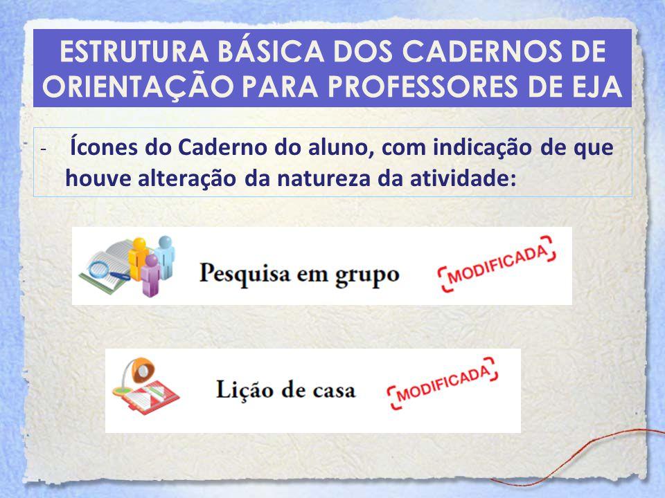 ESTRUTURA BÁSICA DOS CADERNOS DE ORIENTAÇÃO PARA PROFESSORES DE EJA - Ícones do Caderno do aluno, com indicação de que houve alteração da natureza da