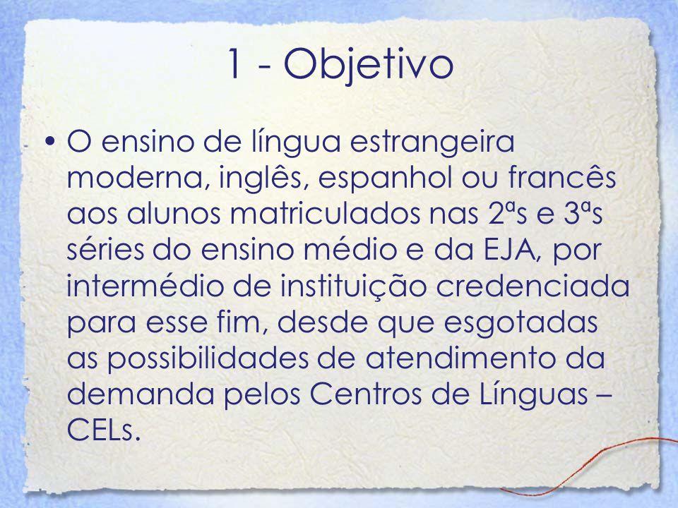 1 - Objetivo O ensino de língua estrangeira moderna, inglês, espanhol ou francês aos alunos matriculados nas 2ªs e 3ªs séries do ensino médio e da EJA