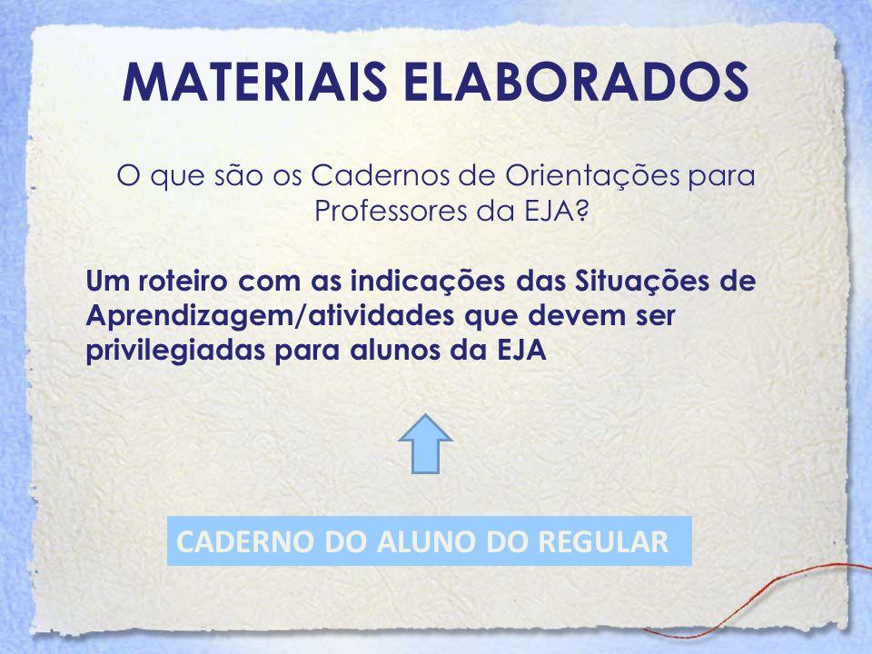 O que são os Cadernos de Orientações para Professores da EJA? Um roteiro com as indicações das Situações de Aprendizagem/atividades que devem ser priv