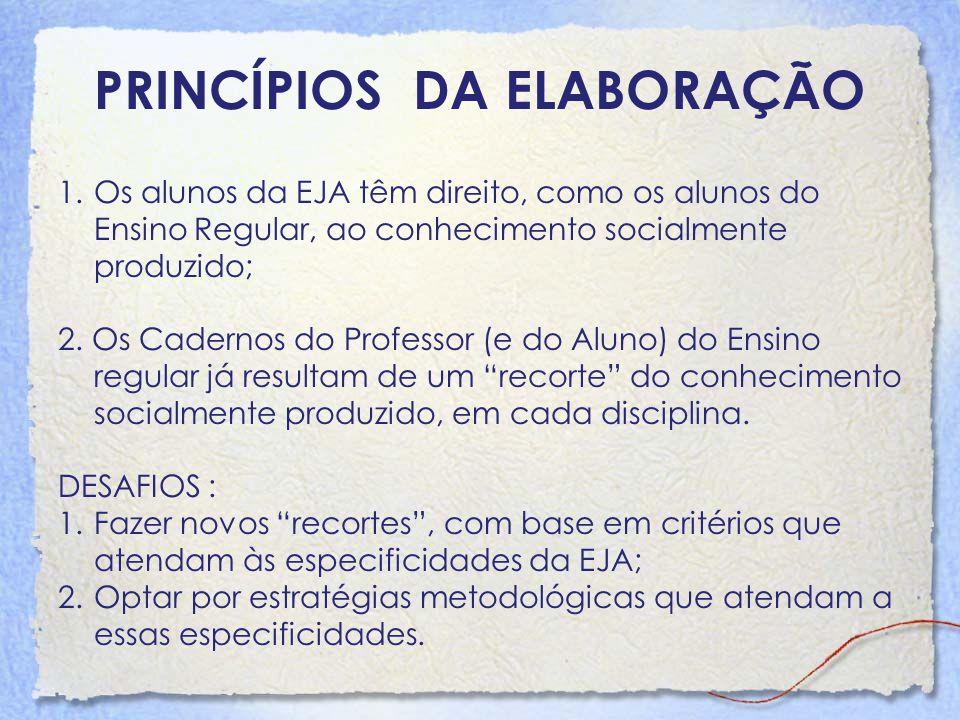 PRINCÍPIOS DA ELABORAÇÃO 1.Os alunos da EJA têm direito, como os alunos do Ensino Regular, ao conhecimento socialmente produzido; 2. Os Cadernos do Pr