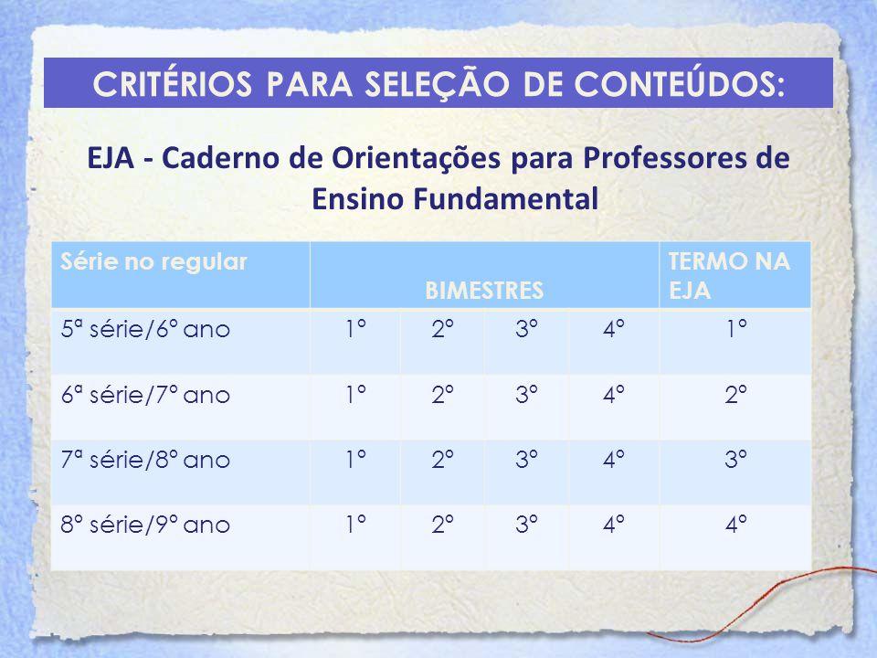 CRITÉRIOS PARA SELEÇÃO DE CONTEÚDOS: EJA - Caderno de Orientações para Professores de Ensino Fundamental Série no regular BIMESTRES TERMO NA EJA 5ª sé