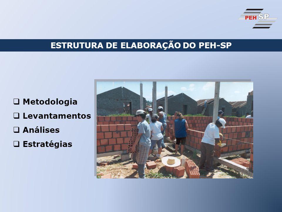 ESTRUTURA DE ELABORAÇÃO DO PEH-SP Metodologia Levantamentos Análises Estratégias