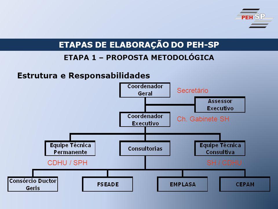 ETAPAS DE ELABORAÇÃO DO PEH-SP Estrutura e Responsabilidades ETAPA 1 – PROPOSTA METODOLÓGICA Secretário Ch.
