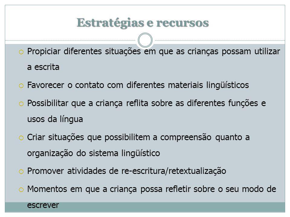 Estratégias e recursos Propiciar diferentes situações em que as crianças possam utilizar a escrita Favorecer o contato com diferentes materiais lingüí