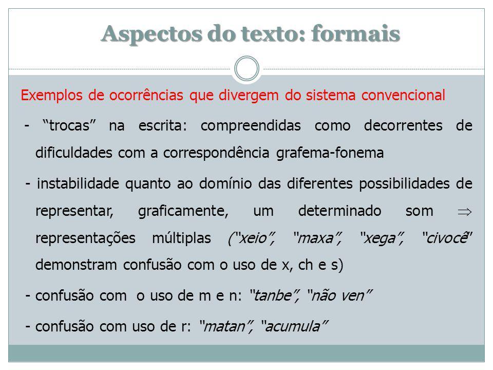Aspectos do texto: formais Exemplos de ocorrências que divergem do sistema convencional - trocas na escrita: compreendidas como decorrentes de dificuldades com a correspondência grafema-fonema - instabilidade quanto ao domínio das diferentes possibilidades de representar, graficamente, um determinado som representações múltiplas (xeio, maxa, xega, civocê demonstram confusão com o uso de x, ch e s) - confusão com o uso de m e n: tanbe, não ven - confusão com uso de r: matan, acumula