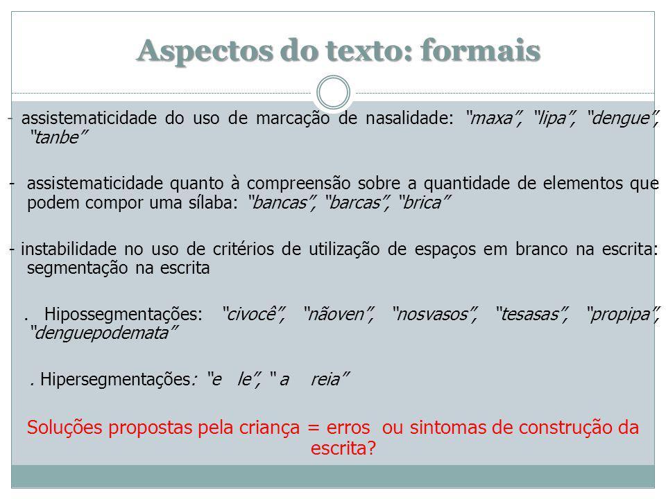 Aspectos do texto: formais - assistematicidade do uso de marcação de nasalidade: maxa, lipa, dengue, tanbe - assistematicidade quanto à compreensão so