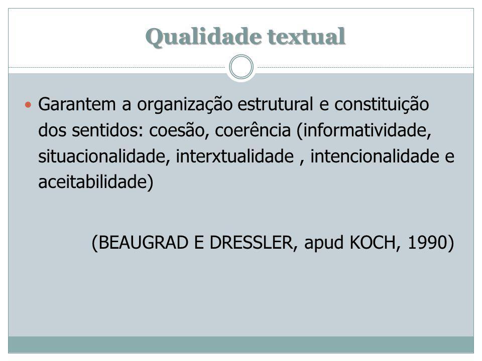 Qualidade textual Garantem a organização estrutural e constituição dos sentidos: coesão, coerência (informatividade, situacionalidade, interxtualidade