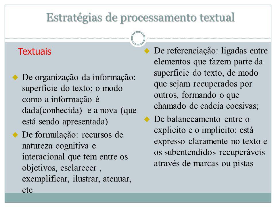 Estratégias de processamento textual Textuais u De organização da informação: superfície do texto; o modo como a informação é dada(conhecida) e a nova