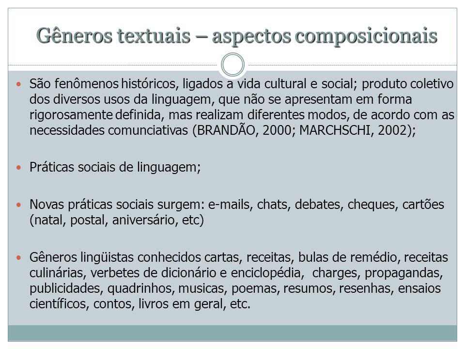 Gêneros textuais – aspectos composicionais São fenômenos históricos, ligados a vida cultural e social; produto coletivo dos diversos usos da linguagem