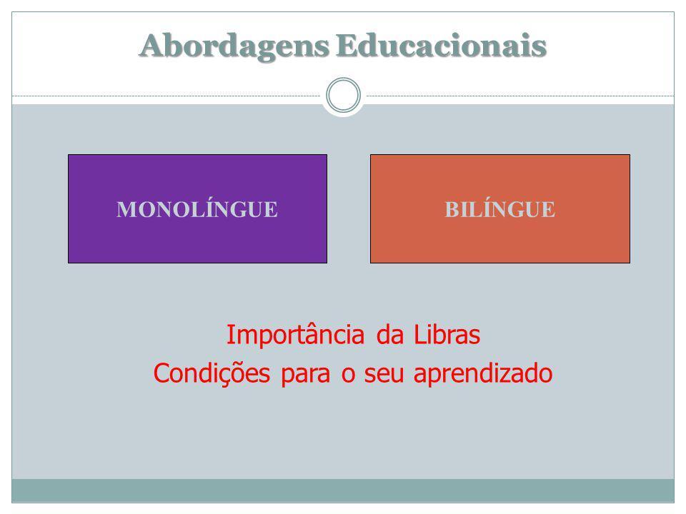 Importância da Libras Condições para o seu aprendizado Abordagens Educacionais MONOLÍNGUEBILÍNGUE