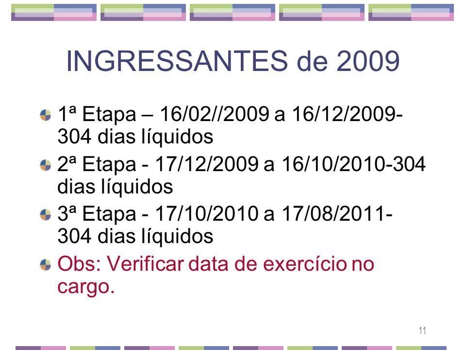 11 INGRESSANTES de 2009 1ª Etapa – 16/02//2009 a 16/12/2009- 304 dias líquidos 2ª Etapa - 17/12/2009 a 16/10/2010-304 dias líquidos 3ª Etapa - 17/10/2