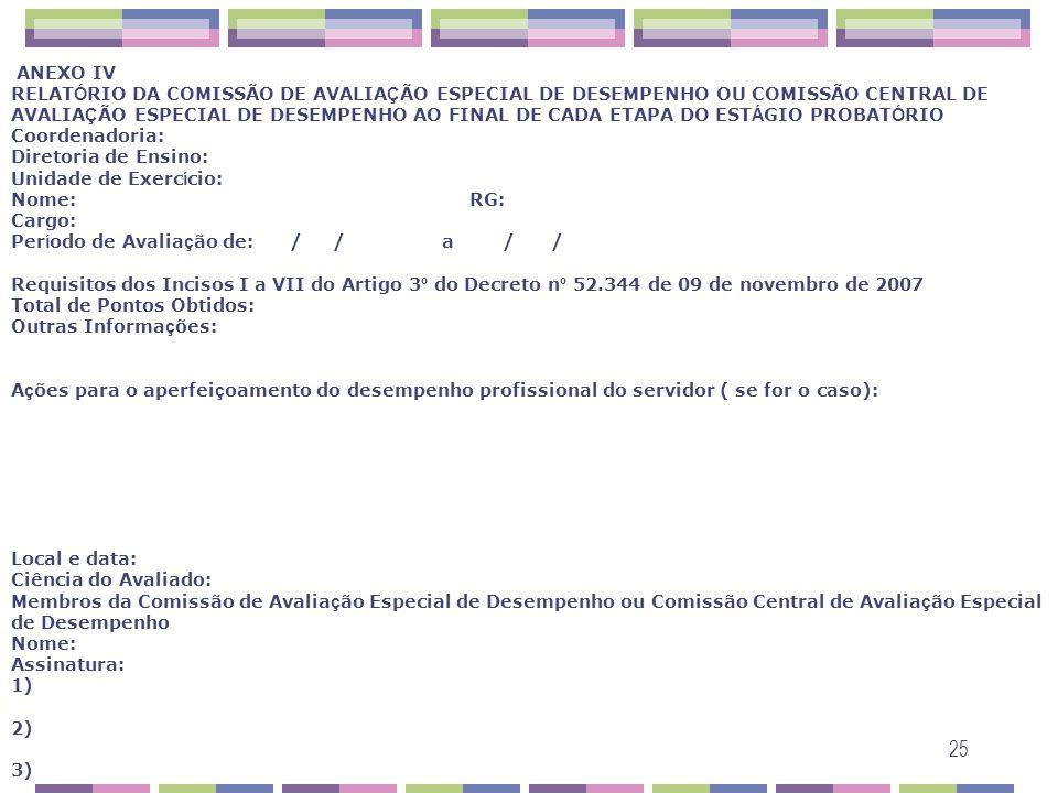 25 ANEXO IV RELAT Ó RIO DA COMISSÃO DE AVALIA Ç ÃO ESPECIAL DE DESEMPENHO OU COMISSÃO CENTRAL DE AVALIA Ç ÃO ESPECIAL DE DESEMPENHO AO FINAL DE CADA E