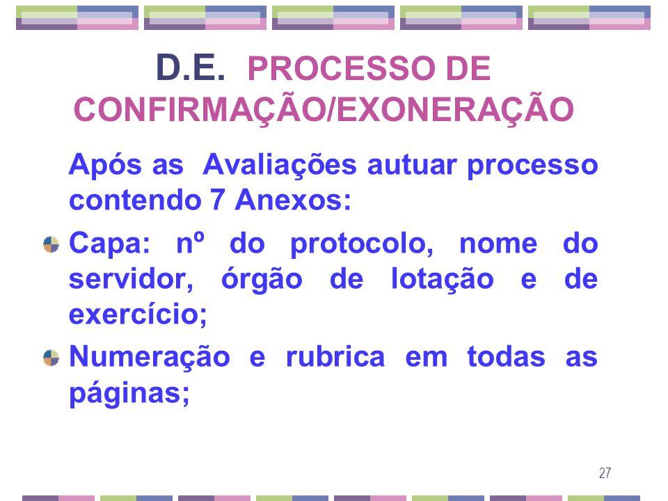 27 D.E. PROCESSO DE CONFIRMAÇÃO/EXONERAÇÃO Após as Avaliações autuar processo contendo 7 Anexos: Capa: nº do protocolo, nome do servidor, órgão de lot