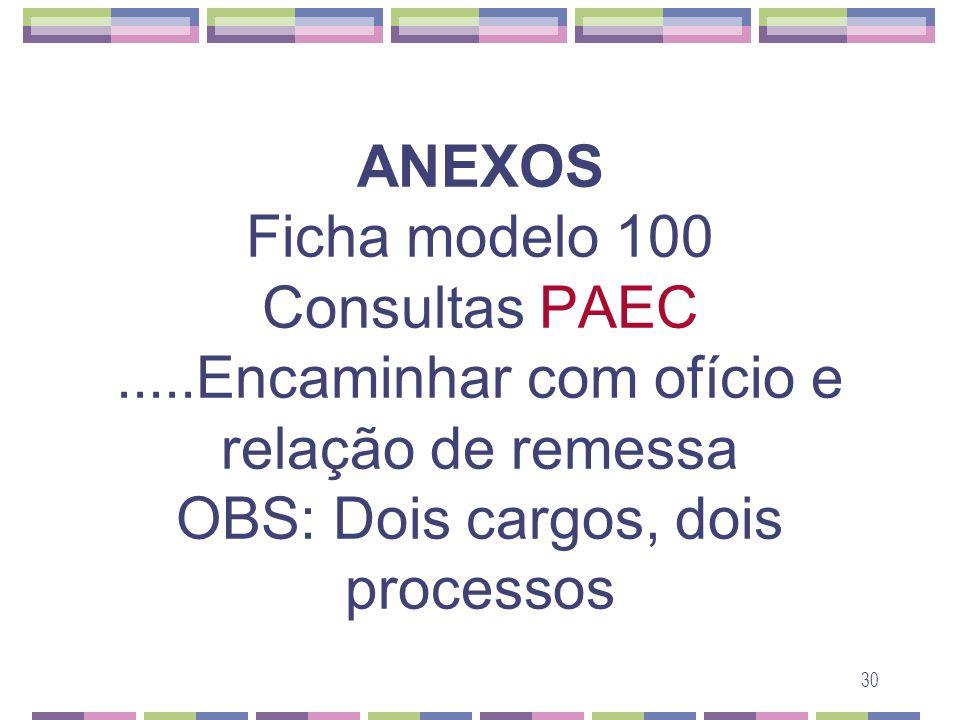 30 ANEXOS Ficha modelo 100 Consultas PAEC.....Encaminhar com ofício e relação de remessa OBS: Dois cargos, dois processos