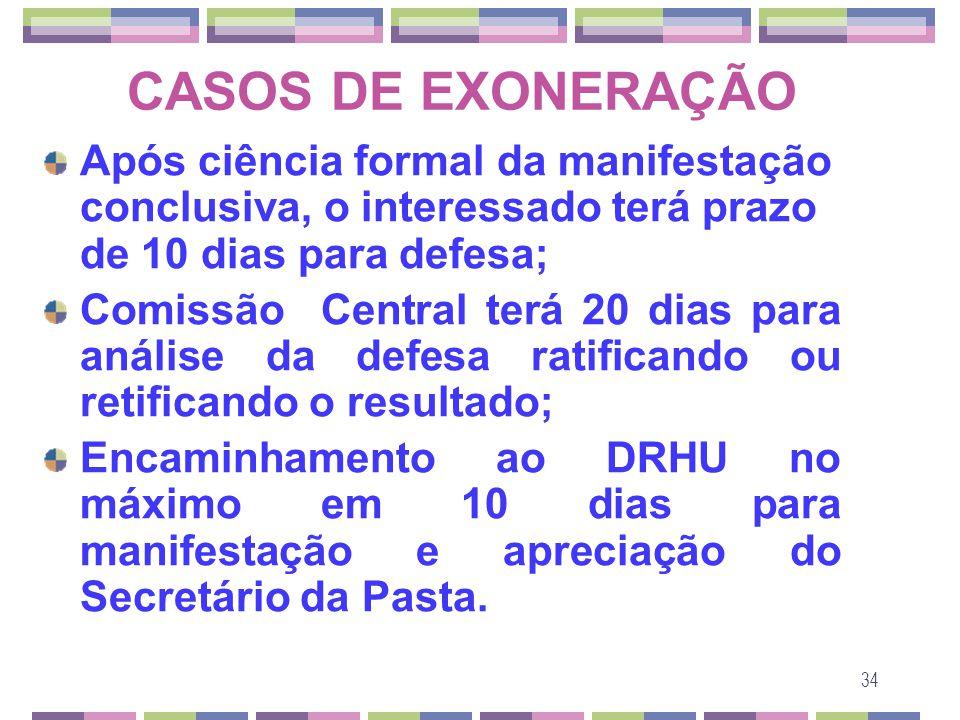34 CASOS DE EXONERAÇÃO Após ciência formal da manifestação conclusiva, o interessado terá prazo de 10 dias para defesa; Comissão Central terá 20 dias