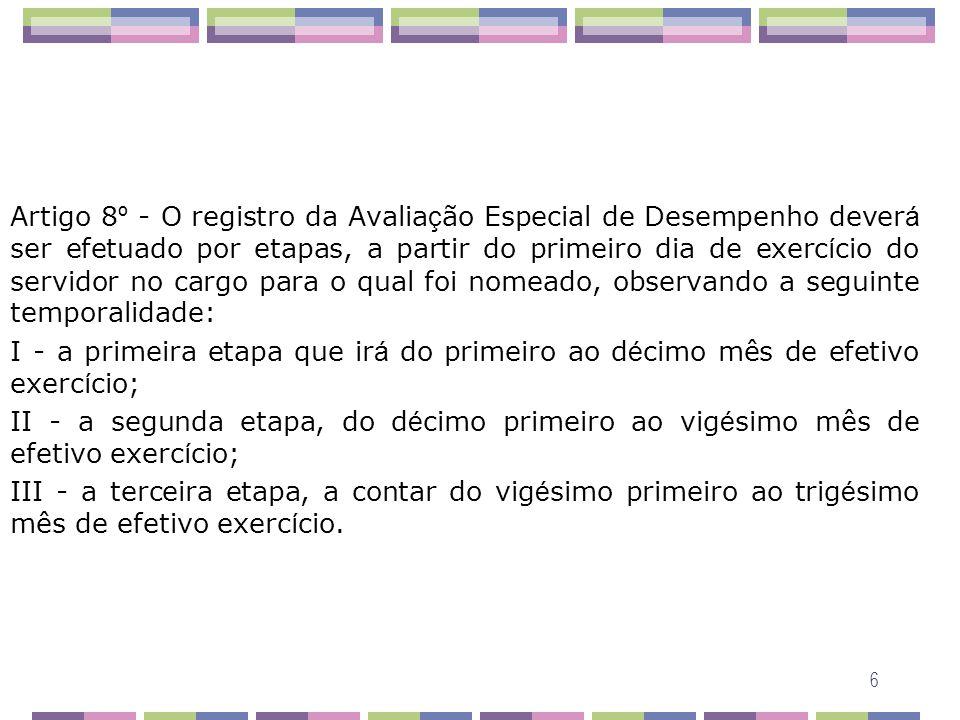6 Artigo 8 º - O registro da Avalia ç ão Especial de Desempenho dever á ser efetuado por etapas, a partir do primeiro dia de exerc í cio do servidor n