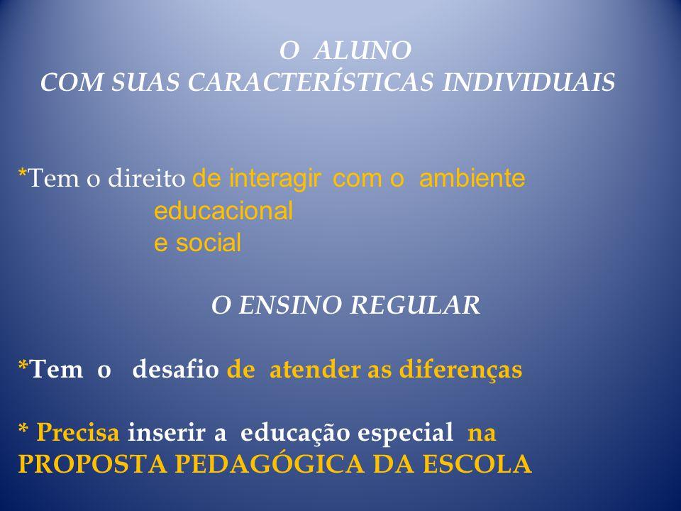 O ALUNO COM SUAS CARACTERÍSTICAS INDIVIDUAIS * Tem o direito de interagir com o ambiente educacional e social O ENSINO REGULAR *Tem o desafio de atend