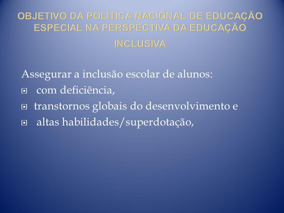 Assegurar a inclusão escolar de alunos: com deficiência, transtornos globais do desenvolvimento e altas habilidades/superdotação,