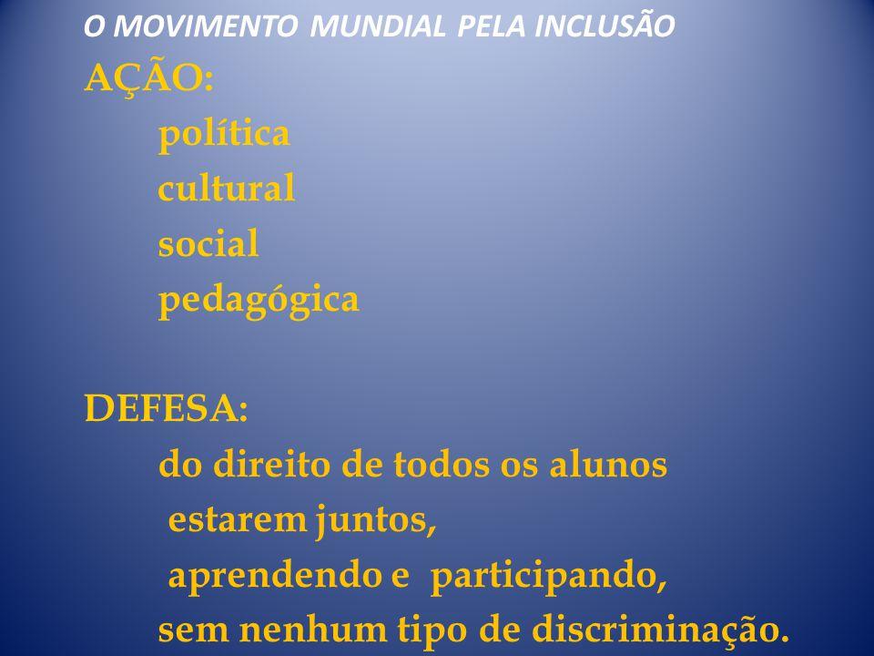 O MOVIMENTO MUNDIAL PELA INCLUSÃO AÇÃO: política cultural social pedagógica DEFESA: do direito de todos os alunos estarem juntos, aprendendo e partici