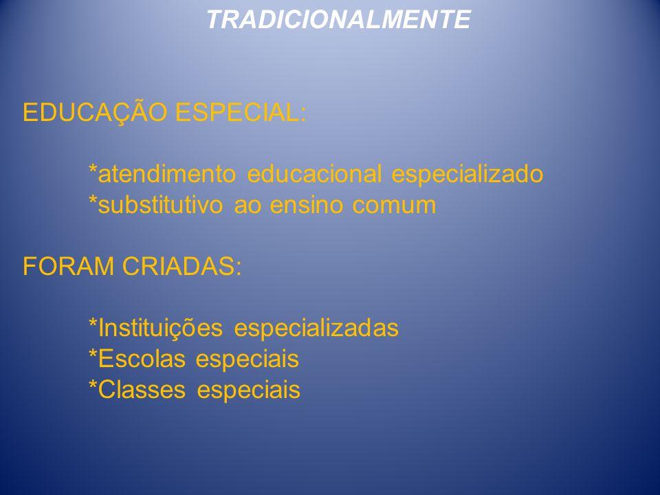 TRADICIONALMENTE EDUCAÇÃO ESPECIAL: *atendimento educacional especializado *substitutivo ao ensino comum FORAM CRIADAS: *Instituições especializadas *