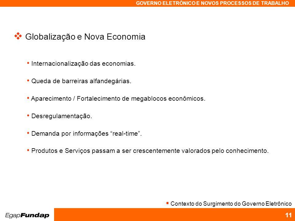 Programa Avançado em Gestão Pública Contemporânea GOVERNO ELETRÔNICO E NOVOS PROCESSOS DE TRABALHO 11 Globalização e Nova Economia Internacionalização das economias.