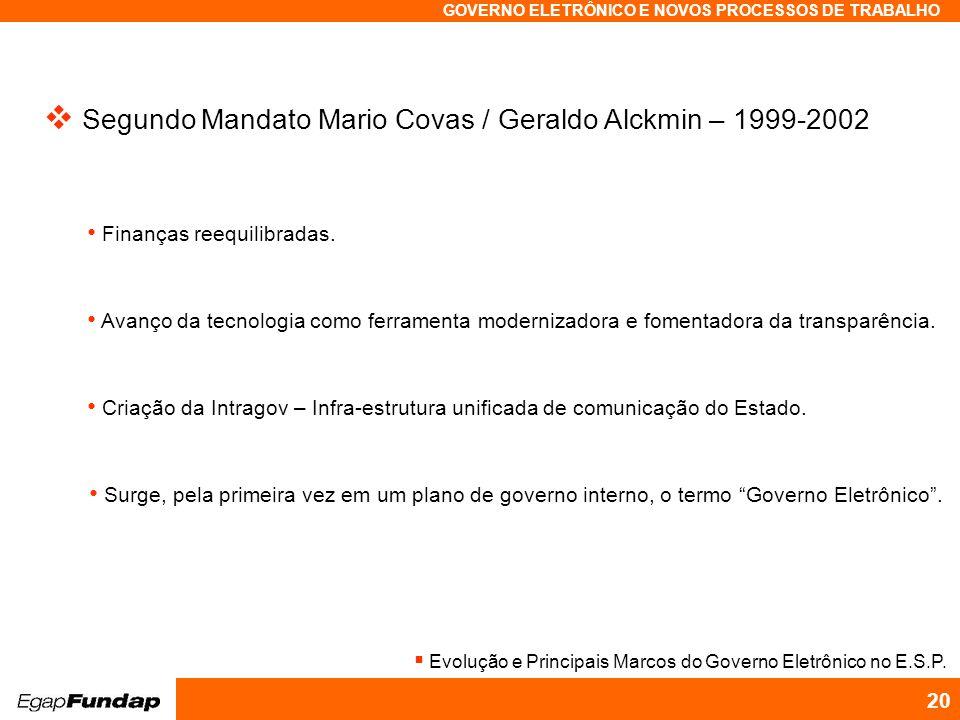 Programa Avançado em Gestão Pública Contemporânea GOVERNO ELETRÔNICO E NOVOS PROCESSOS DE TRABALHO 20 Segundo Mandato Mario Covas / Geraldo Alckmin – 1999-2002 Finanças reequilibradas.