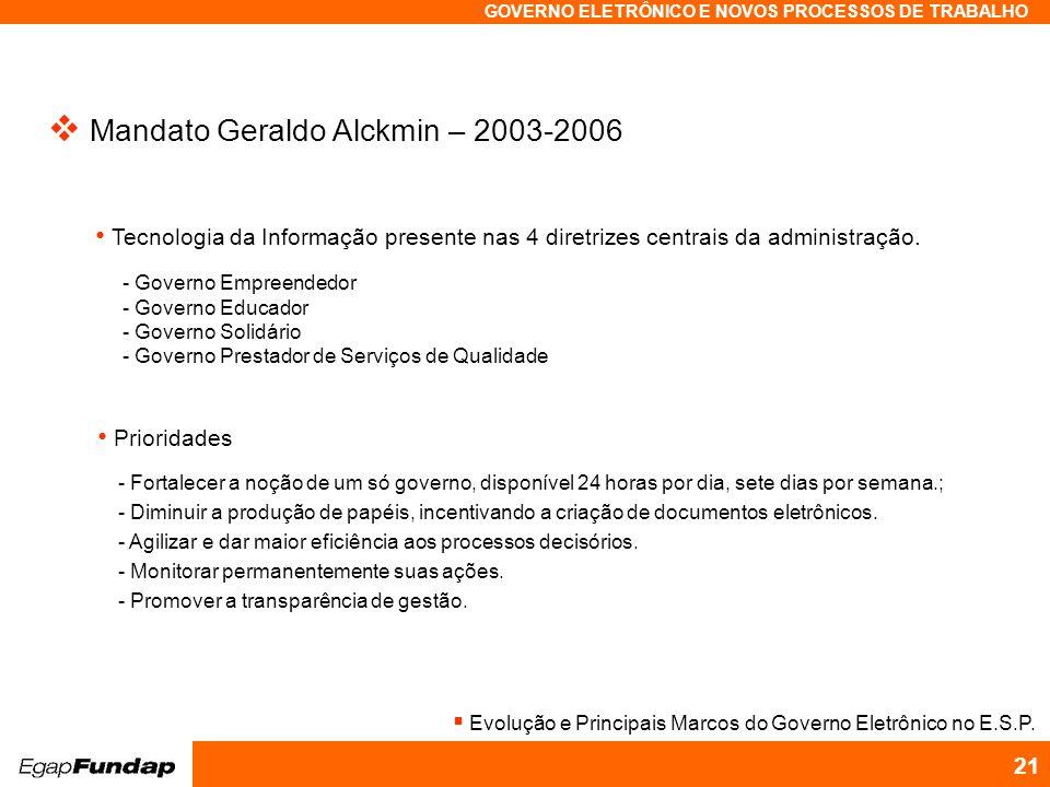 Programa Avançado em Gestão Pública Contemporânea GOVERNO ELETRÔNICO E NOVOS PROCESSOS DE TRABALHO 21 Mandato Geraldo Alckmin – 2003-2006 - Governo Em