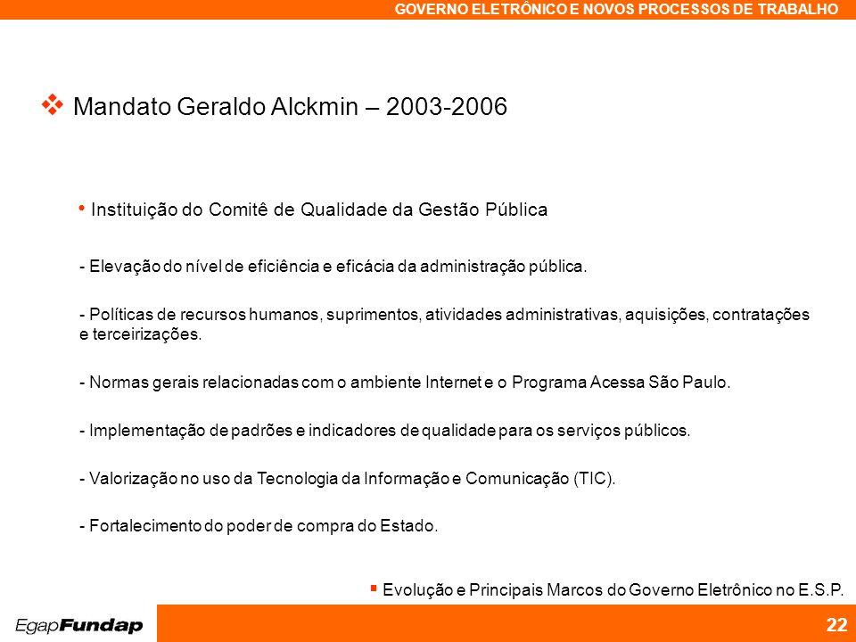 Programa Avançado em Gestão Pública Contemporânea GOVERNO ELETRÔNICO E NOVOS PROCESSOS DE TRABALHO 22 Mandato Geraldo Alckmin – 2003-2006 Instituição do Comitê de Qualidade da Gestão Pública - Elevação do nível de eficiência e eficácia da administração pública.