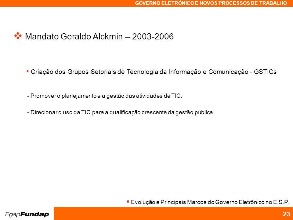 Programa Avançado em Gestão Pública Contemporânea GOVERNO ELETRÔNICO E NOVOS PROCESSOS DE TRABALHO 23 Mandato Geraldo Alckmin – 2003-2006 Criação dos