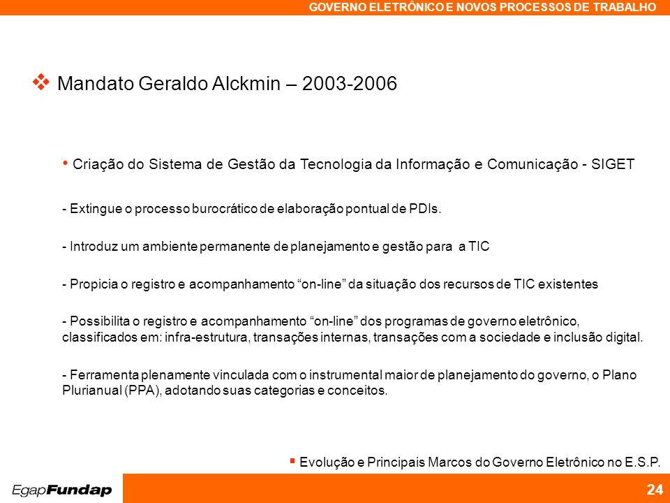 Programa Avançado em Gestão Pública Contemporânea GOVERNO ELETRÔNICO E NOVOS PROCESSOS DE TRABALHO 24 Mandato Geraldo Alckmin – 2003-2006 - Extingue o processo burocrático de elaboração pontual de PDIs.