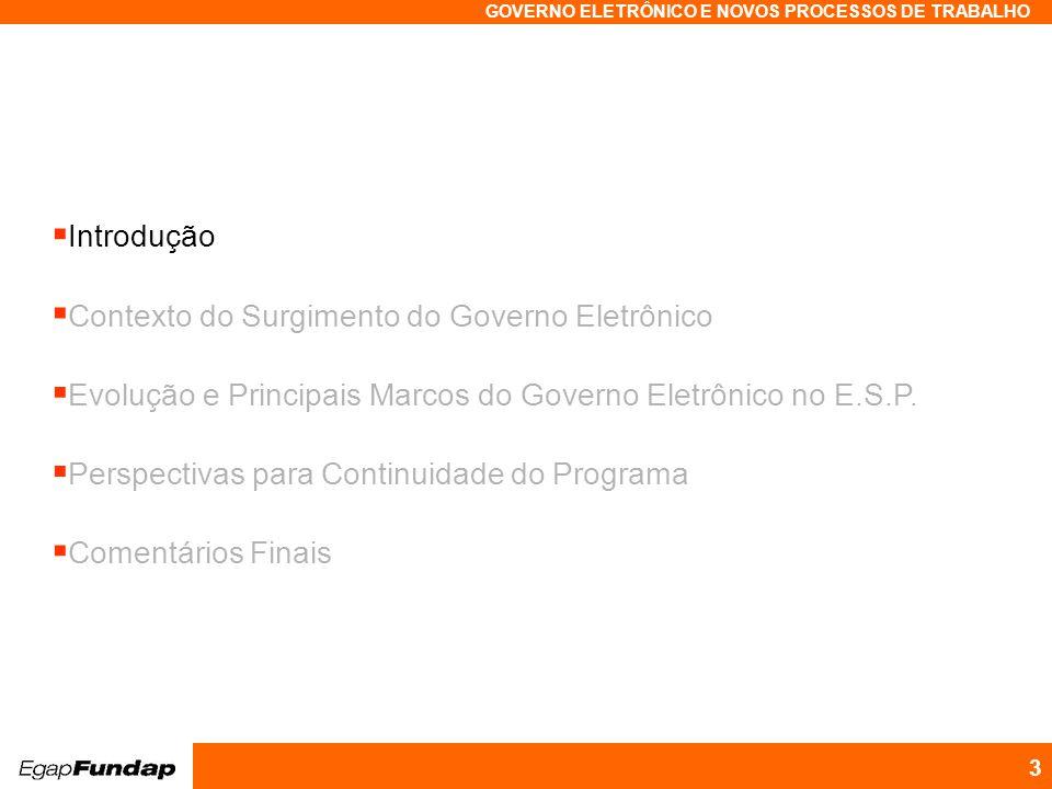 Programa Avançado em Gestão Pública Contemporânea GOVERNO ELETRÔNICO E NOVOS PROCESSOS DE TRABALHO 3 Introdução Contexto do Surgimento do Governo Elet