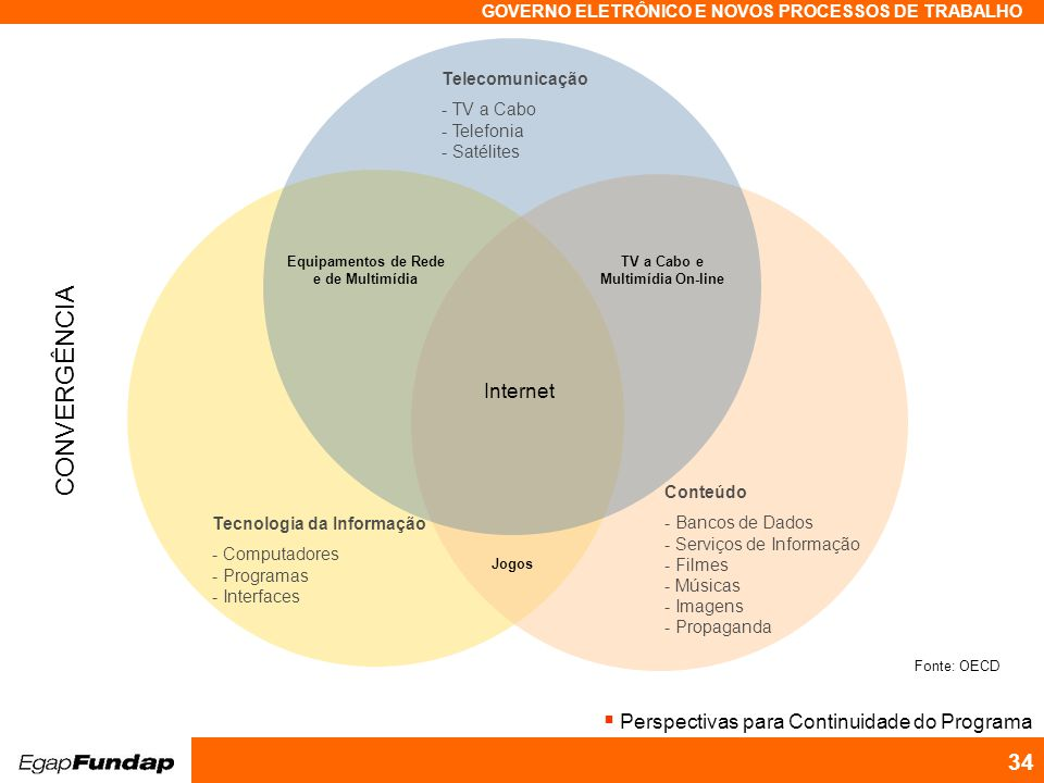 Programa Avançado em Gestão Pública Contemporânea GOVERNO ELETRÔNICO E NOVOS PROCESSOS DE TRABALHO 34 Fonte: OECD Tecnologia da Informação - Computado