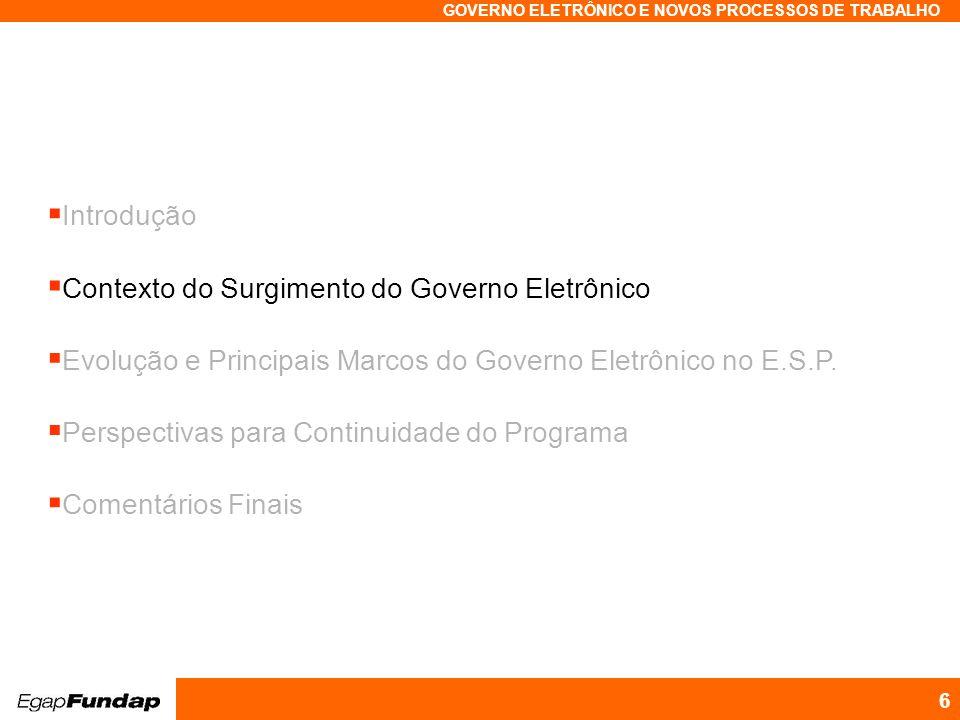 Programa Avançado em Gestão Pública Contemporânea GOVERNO ELETRÔNICO E NOVOS PROCESSOS DE TRABALHO 6 Introdução Contexto do Surgimento do Governo Elet