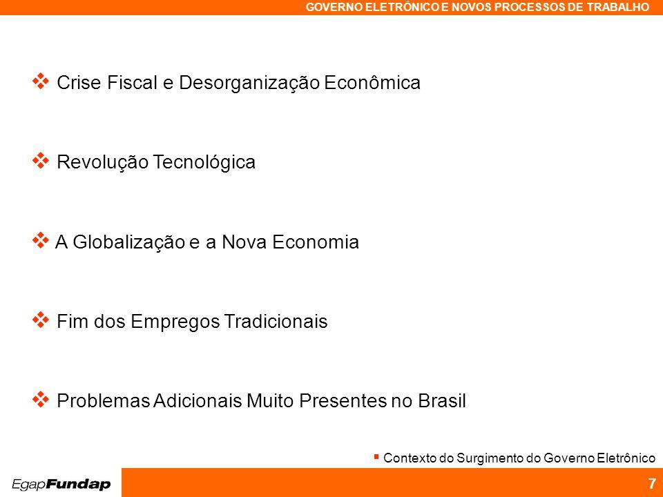 Programa Avançado em Gestão Pública Contemporânea GOVERNO ELETRÔNICO E NOVOS PROCESSOS DE TRABALHO 7 Crise Fiscal e Desorganização Econômica Revolução
