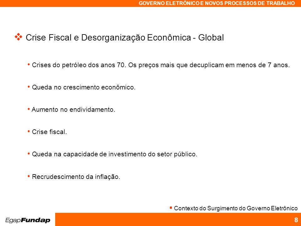 Programa Avançado em Gestão Pública Contemporânea GOVERNO ELETRÔNICO E NOVOS PROCESSOS DE TRABALHO 8 Crise Fiscal e Desorganização Econômica - Global Crises do petróleo dos anos 70.
