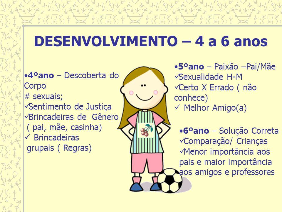 DESENVOLVIMENTO – 4 a 6 anos 4ºano – Descoberta do Corpo # sexuais; Sentimento de Justiça Brincadeiras de Gênero ( pai, mãe, casinha) Brincadeiras gru